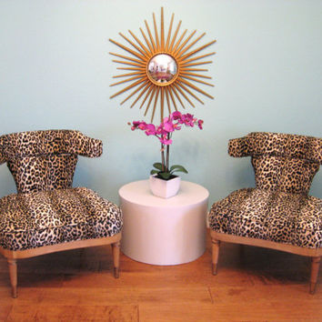 MID CENTURY Modern Pair HOLLYWOOD Regency Leopard Slipper Chairs by Mastercraft