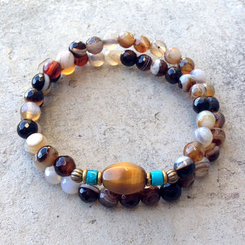 Brown Stripped Agate, Turquoise and Tiger's Eye 54 Bead Wrap Bracelet