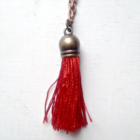 Silk Bright Red Tassel Necklace with 24 inch Copper Chain, Gift Box Included