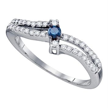 Sterling Silver Womens Round Blue Color Enhanced Diamond Solitaire Bridal Wedding Engagement Ring 1-3 Cttw