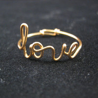 Gold Love Ring Adjustable Wire Script Ring Wire by WireLoveJewelry