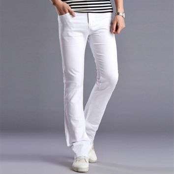 Men New White Designers Flare Pants Fashion Casual Mens Wide Leg Bell Bottom Cotton Men's Stretched Slim Denim Trousers  28-36