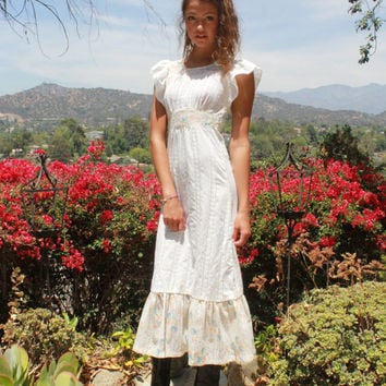 Victorian Gypsy Prairie Wedding Vintage Gypsy Gunne Sax Style Maxi Dress