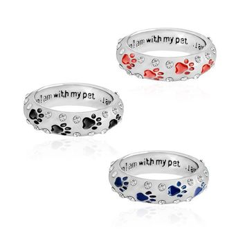 when I am with my pet,,,I am complete Animal Pet Ring Dog paw footprints Simple Jewelry Ring For Dog parent Free Shipping