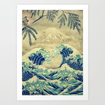 The Great Blue Embrace at Yama Art Print by Kijiermono
