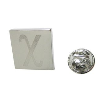 Silver Toned Etched Greek Letter Chi Lapel Pin