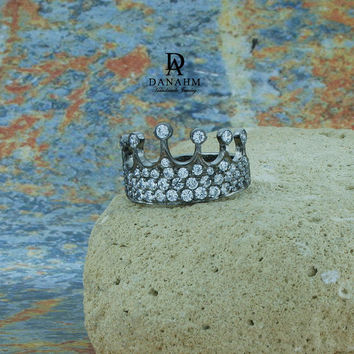 Queen Crown Ring with Desert Diamonds, Sterling Silver, Black Silver Plated, RI003D