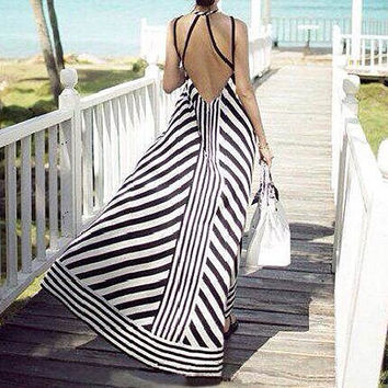 Striped Backless Maxi Dress