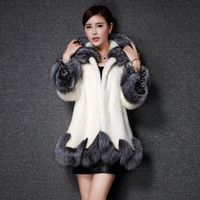 Women Fur Coat 2016 Winter New Design Imitation Fox Fur Coat Mink Europe Luxury Women Long Skirt Styles Faux Fur Coat Women 4XL