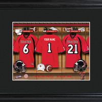 College Locker Room Print in Wood Frame - Texas Tech