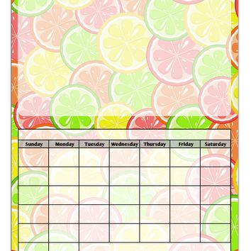 Colorful Citrus Fruits Blank Calendar Dry Erase Board All Over Print