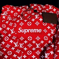 LV x Supreme fashion hot seller printed hoodies for men and women casual hoodies for couples