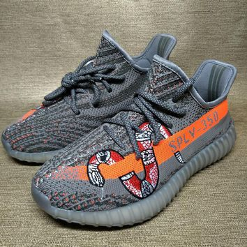 Adidas Yeezy Boost 350 V2 Grey Orange Red Snake 2018 Women Men Fashion Trending Running Sports Shoes Sneakers