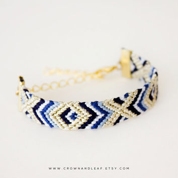 Navy Aztec / XO / Gold Chain Friendship Bracelet / Woven Bracelet / Navy Blue and Gold / Gold Chain Bracelet / Braided Bracelet / Tribal