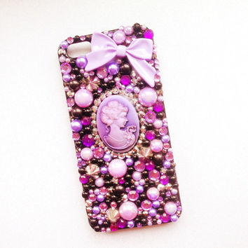 iPhone 5/5s Purple Cameo, Studded Lilac & Black Decoden Case. Creepy, Kawaii Can Be Made For ANY Phone iPhone 5c