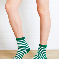 Fuzzy Striped Socks In Green | Wet Seal