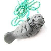 Realistic Manatee Sea Cow Shaped Porcelain Ceramic Animal Pendant Necklace | Handmade