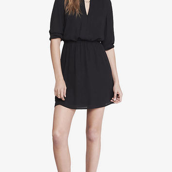 CREPE PLEATED ELASTIC WAIST DRESS from EXPRESS