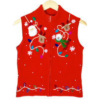 Santa, Reindeer and Snowman Tacky Ugly Christmas Sweater Vest