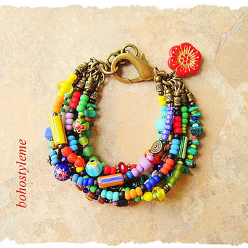 Boho Colorful Layered Bracelet, Bohemian Jewelry, bohostyleme, Modern Hippie, Red Poppy, Boho Style Me, Kaye Kraus