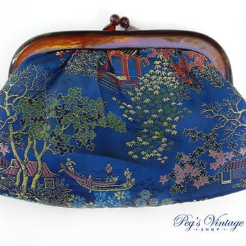 Vintage Satin Embroidered Clutch Purse, Lucite Handle Clutch, Asian Blue Satin Travel Bag/Makeup Bag Hong Kong