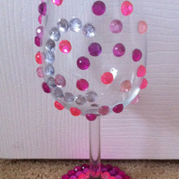 Customizable Rhinestone Wine Glass