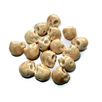 Tan Porcelain Sugar Skull Beads, 16 Beads