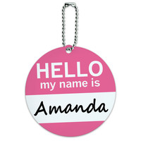 Amanda Hello My Name Is Round ID Card Luggage Tag