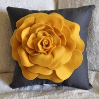 Rose Pillow Mustard Yellow on Grey 12 X 12 by bedbuggs on Etsy