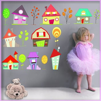 Houses Wall Decals - Cute Little Houses Decor - Houses wall stickers - Little Houses Nursery Decor  - Cute Little Houses - Little Houses