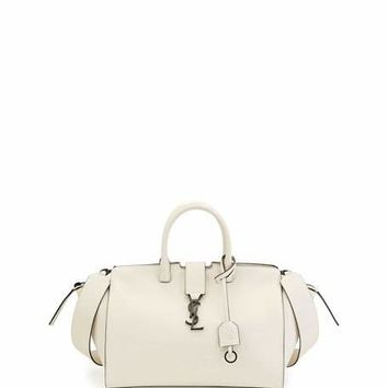 Saint Laurent Downtown Cabas Small Satchel Bag, White/Black