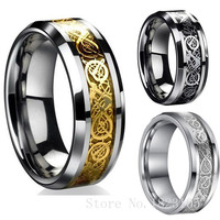 Vintage Gold Free Shipping Dragon 316L stainless steel Ring Mens Jewelry for Men lord Wedding Band male ring for lovers 3 COLORS