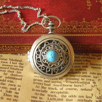 vintage silver turquoise Victorian hollow out locket necklace jewelry