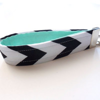 Chevron Key Chain, Fabric Key Fob , Vegan Key Strap - Black and Mint Green