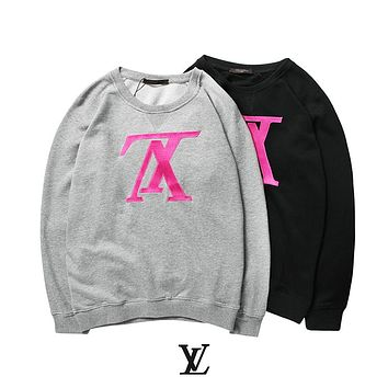 LV early autumn new inverted V fluorescent letter embroidery loose hooded sweater F-A-KSFZ