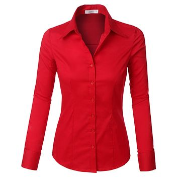 LE3NO Womens Plus Size Classic Easy Care Long Sleeve Button Down Shirt with Stretch