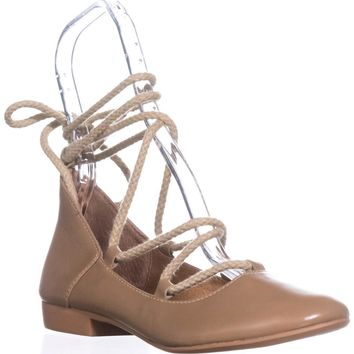 Kelsi Dagger Brooklyn Deandra Lace Up Ballet Flats, Camel, 6.5 US