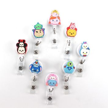 High quality silicone Cartoon Cat Retractable Badge Reel Student Nurse Exihibiton ID Name Card Badge Holder Office Supplies