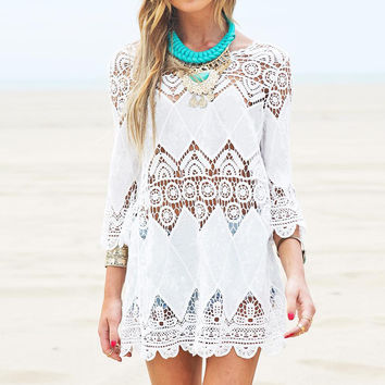 Boho Women Beach Mini White Half Sleeve Lace Floral Hollow Out Solid Dress Long Tops