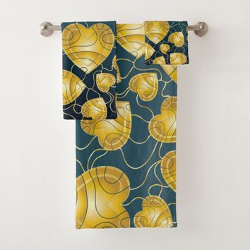 Golden Hearts Pattern Bath Towel Set