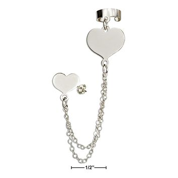 Sterling Silver Earrings:  Italian Heart Post Earring With Chain And Cuff