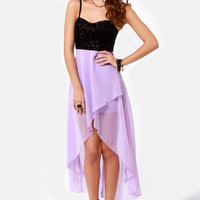 Young Love Glitter High-Low Lavender Dress