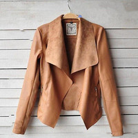Autumn Long Sleeve Turn-Down Collar Faux Leather Jacket