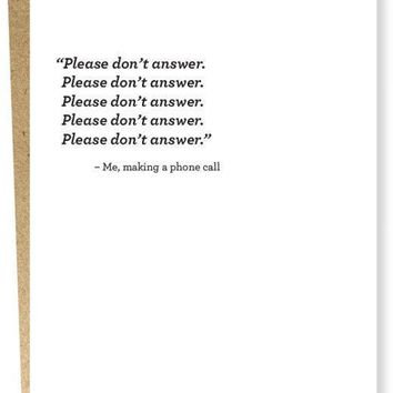 Please Don't Answer Card