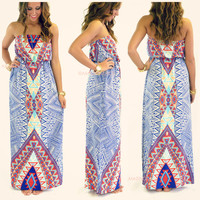 Painted Desert Blue Tribal Maxi Dress