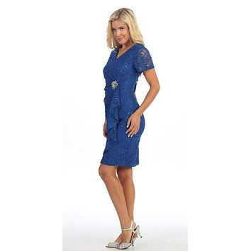Short Sleeved Short Side Gathered Royal Blue Cocktail Dress