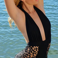 Cut Out Plunge Neck Monokini