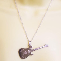silver guitar necklace guitar pendant NECKLACE stainless steel chain metal unisex guitar jewelry rock and roll musician gifts
