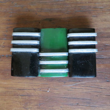 Art Deco Green Black and Silver Dress Buckle - Plastic bakelite 1920s 1930s