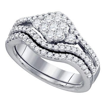 10kt White Gold Women's Diamond Flower Cluster Bridal Wedding Engagement Ring Band Set 3/4 Cttw - FREE Shipping (US/CAN)